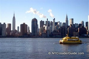 NYC Skyline View with Water Taxi